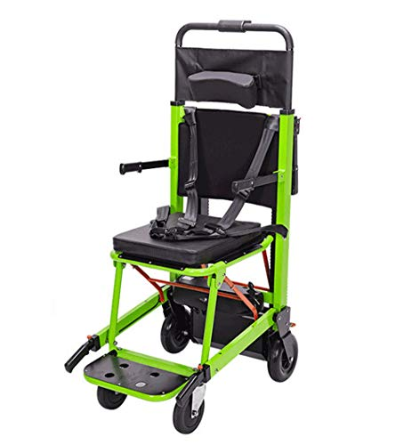 ZJDU Treppensteigender Rollstuhl,Tragbarer Faltender Treppen-Stuhl,Batteriebetriebener Klappbarer Crawler-Kletterstuhl,350 Lbs Motorisierter Treppenstuhl,200W Emergency Stair Kletterstuhl,Grün