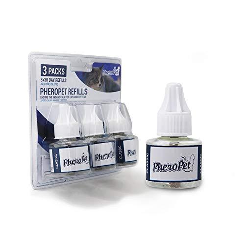 PheroPet Recambios – Difusor de feromonas para Gatos – Tranquilizante Gatos – Elimina Malos hábitos con Este Relajante para Gatos – Anti estrés y Anti arañazos para Gatos - (Pack 3 Recambios 48ml)