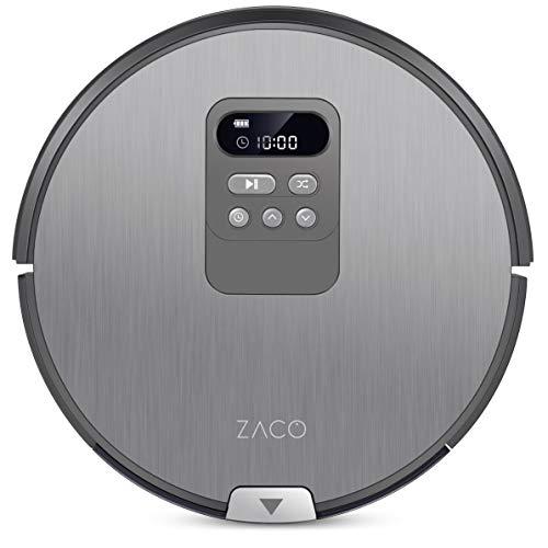 ZACO V80 – Robot lavapavimenti e aspirapolvere 2 in 1 con display LCD – Efficace per peli di animali, con navigazione intelligente, aspirazione superiore, motore brushless – Grigio argento