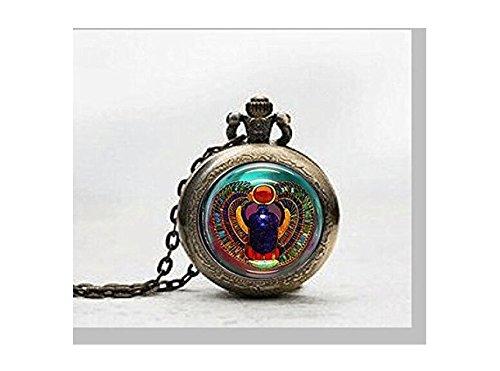 Skarabäus-Anhänger Taschenuhr, Skarabäus-Halskette, Taschenuhr, ägyptischer Anhänger, Taschenuhr, Glasfliesen-Schmuck, ägyptische Uhr, Skarabäus-Potfoto