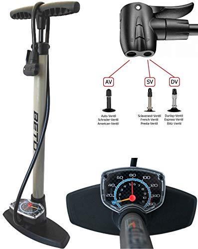 P4B | Standpumpe mit Extra grossem Manometer | Fahrradpumpe - für Alle Ventile