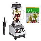 Ultratec Frullatore mixer 2,0 litri - Mixer cucina e per smoothie 1.500 Watt o 2 PS - 22.000 giri/min, mixer, frullatore smoothie, tritatutto, incl. ricettario smoothie, argento