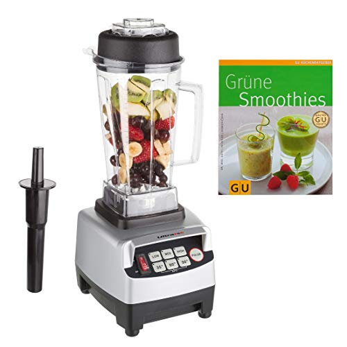 Ultratec blender 2,0 liter - high-performance mixer en smoothie maker met 1.500 watt of 2 pk - 22.000 omw/min. - Incl. smoothie-receptenboek. zilver