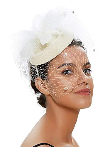 Zivyes Hochzeit Faszinator Hut 50er Jahre Mottoparty Accessories Halloween Kostüme Kopfschmuck (1-Elfenbein)