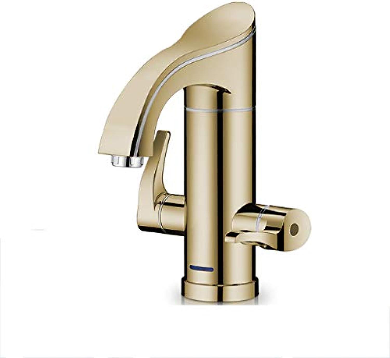 WHYDIANPU Elektrischer Wasserhahn, Schnellheizen Spüle Bad Warmwasserbereiter Haus tippen (Farbe   Gold)