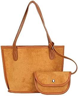 Docooler New Fashion Women Faux Suede Handbag Leopard Print Solid Large Capacity Shopping Shoulder Bag Tote Black/Brown/Khaki