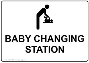 Baby Changing Station Sign, 7x5 inch Plastic for Restrooms by ComplianceSigns