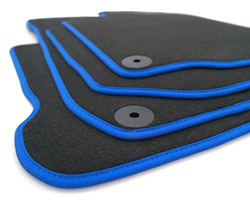 kh Teile Fußmatten Tuning passend für Golf 5 6 Automatten Velours, 4-teilig, Blauer Rand