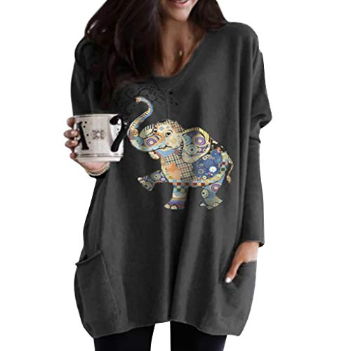 Tier Pullover Damen, Elefant Druck Elegante Tiere Langarmshirt Bedruckets Pulli Tops Frauen Lässiges Teenager Mädchen Bluse Sweatshirt Cartoon Locker Tunika Shirts (Dunkelgrau,M)