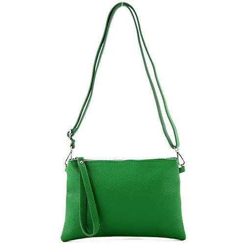 modamoda de - T186 - ital. Clutch/Umhängetasche Leder Medium, Farbe:Blattgrün