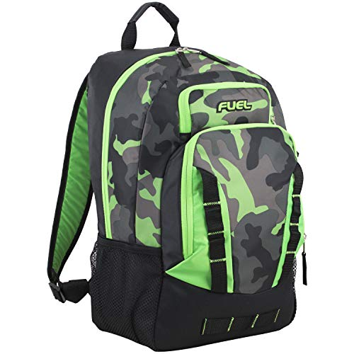 Fuel Escape Travel Backpack, School Bookbag, Durable Camping or Hiking Backpack, Black/Lime Green/Camo Print