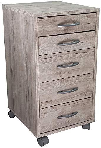 My-goodbuy24 Rollcontainer Bürocontainer 5 Schubladen mit Rollen - Rollschrank Schubladencontainer Standcontainer Büroschrank Ablage ver. Farben (Sandeiche NB)