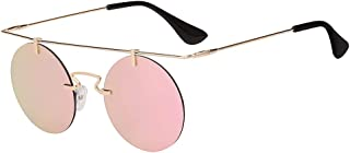 Men Women Vintage Round Brow Sunglasses Colored Metal Frame Tinted Lens Shades