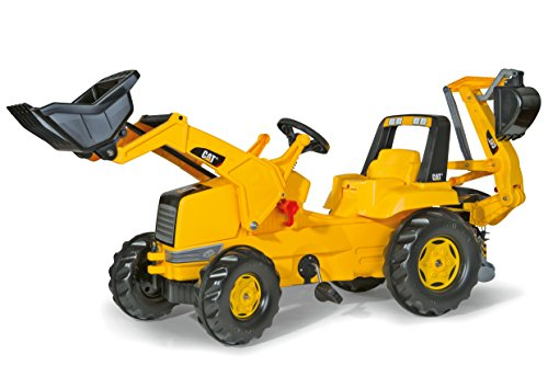 rolly toys CAT Construction Pedal Tractor: Backhoe Loader (Front Loader and Excavator/Digger), Youth Ages 3+ , Yellow