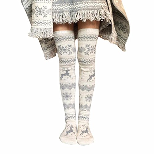 Amiley Hot sale Women Christmas Thigh High Long Stockings Knit Over Knee Socks Xmas (Gray)