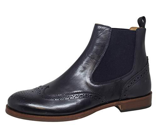 Gallucci 5078A Chelsea Boots Stiefeletten mit Budapester Muster, Unisex (36 EU, Blau (Blu/Nocciola))