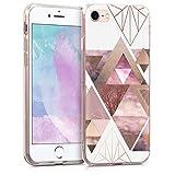 kwmobile Hülle kompatibel mit Apple iPhone 7/8 / SE (2020) - Handyhülle - Handy Hülle Glory Dreieck Muster Rosa Rosegold Weiß