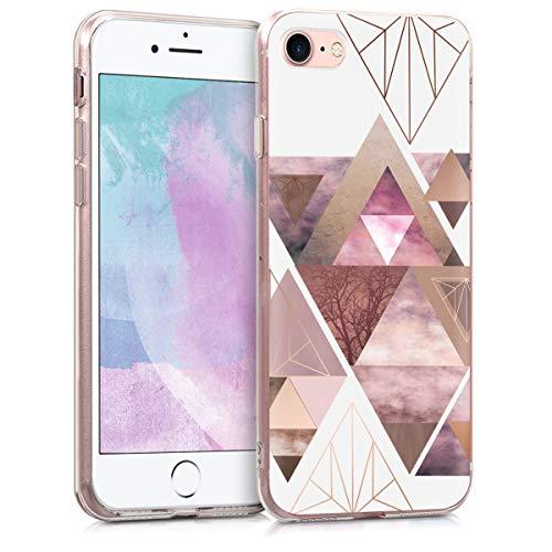 kwmobile Hülle kompatibel mit Apple iPhone 7/8 / SE (2020) - Handyhülle - Handy Case Glory Dreieck Muster Rosa Rosegold Weiß