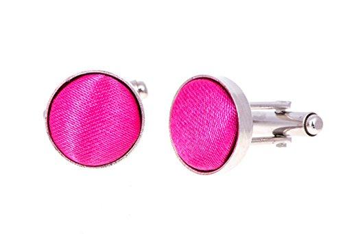Manschettenknöpfe »Facettenauge«, Textilgewebe aus rosa Seide 091