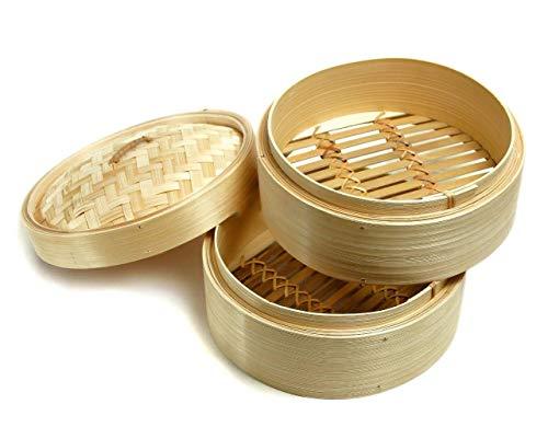 Aurora Store Vaporiera cestelli per Cottura a Vapore in Legno Naturale di Bambu' Diametro 20cm x 20 x h.15 cm Bamboo