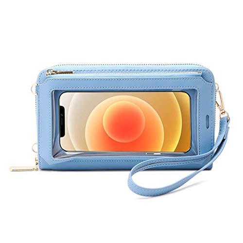 OSELLINE Monedero con Pantalla táctil para Mujer, con Bloqueo RFID, Bandolera, para teléfono, bandoleras, Bolsos, Azul Claro