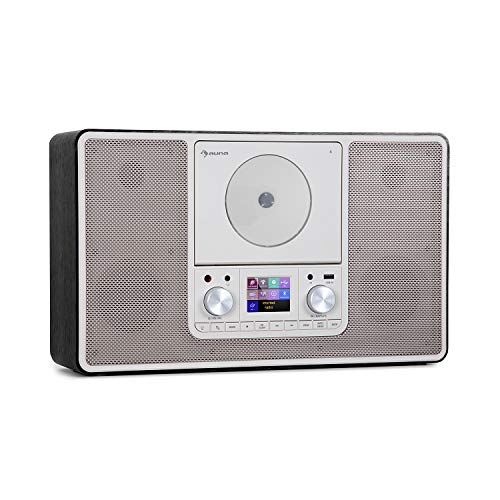 auna Scala VCD-IR - Radio Digital con Internet, Sintonizador Dab/Dab+/FM, Bluetooth, Reproductor CD, USB, AUX, 2 x 10 W RMS, Posible Montaje en Pared, Pantalla TFT 2,4'', Luz LED Ambiental, Negro
