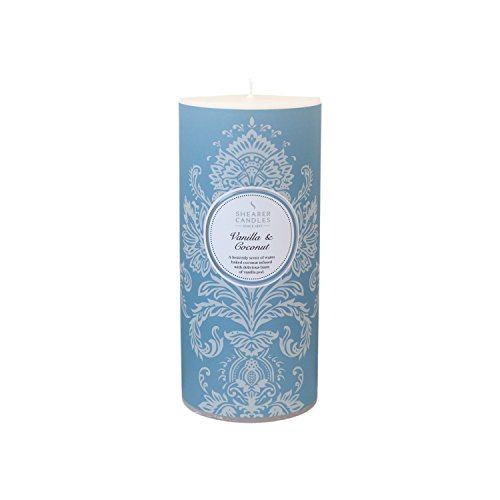 Shearer Candles Vanilla and Coconut Scented 6 inch Pillar Candle - White