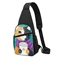 猫柄 かわいい猫 ショルダーバッグ チェストバッグ 多機能 軽量 メッセンジャーバッグ防水旅行ウエストバッグ 携帯ポーチ カードが 小物入れ 収納 ユニセックス クロスボデ