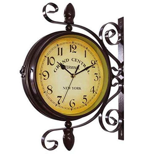 ACMEDE Retro-Wanduhr Zweiseitige Bahnhofsuhr Doppelseitige Bahnhofsuhr im Retro Design, Europäischer Stil Vintage Uhr Innovativ Modisch Beidseitig Wanduhr, 38 * 1 * 37 * 10cm