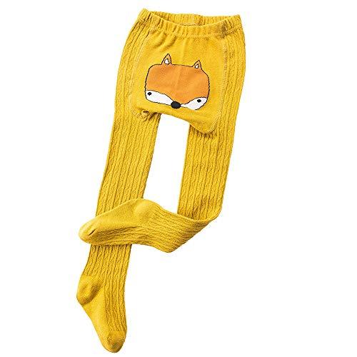 Huhu833 Neugeborene Leggings, Baby Mädchen Cartoon Strumpfhosen Leggings warme Strümpfe (Gelb, 0-12Monate)