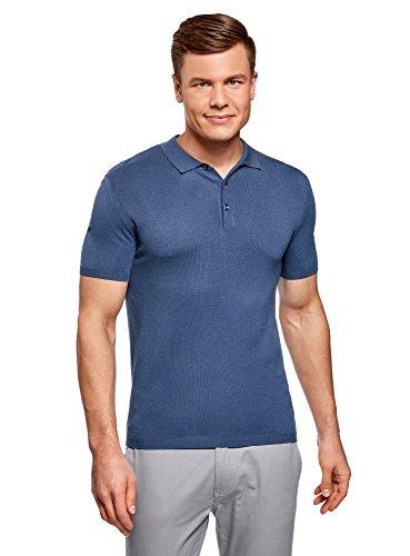 oodji Ultra Herren Gestricktes Poloshirt mit Kurzen Ärmeln, Blau, DE 56 / XL