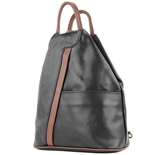 modamoda de - T180 - ital Damen Rucksack Tasche Nappaleder, Farbe:Schwarz/Braun