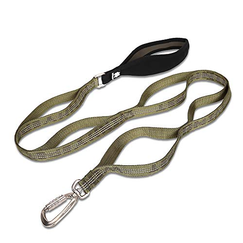 Chai's Choice Best New Trail Runner Multi Handle Heavy Duty Dog Leash. Training Lead for Greater Control and Safety for Small, Medium, Large Dogs. (Army Green Large) Trail Runner Harness Optional