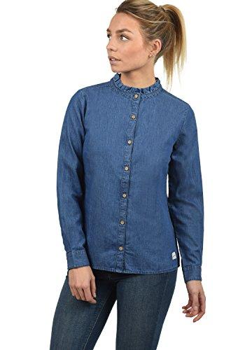 BlendShe Dina Damen Lange Jeansbluse Hemdbluse Langarm Mit Stehkragen Aus 100% Baumwolle, Größe:XL, Farbe:Med. Blue Denim (29035)