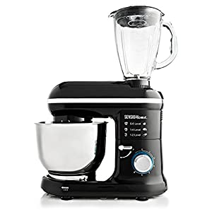 Sensio Home 2-in-1 Food Processor Blender & Stand Mixer Machine – 1000-1300W Electric Motor – Dough Hook, Whisk, Beater, Splash Guard, 6-Speed – 4.5 Litre Stainless Steel Mixing Bowl – 1.5L Glass Jug