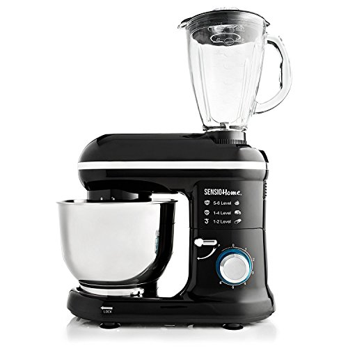 Sensio Home 2-in-1 Food Processor Blender & Stand Mixer Machine - 1300W Electric Motor - Dough Hook, Whisk, Beater, Splash Guard, 6-Speed - 4.5 Litre Stainless Steel Mixing Bowl - 1.5L Glass Jug