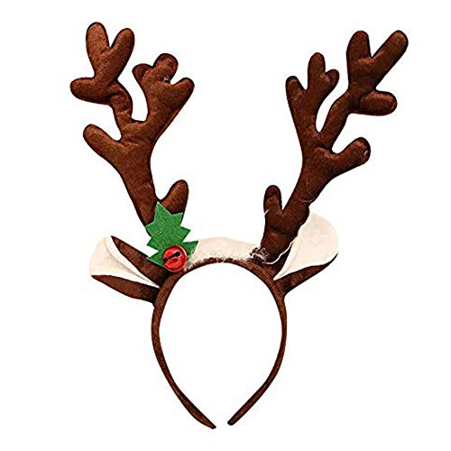 thematys Rentier-Geweih Haarreif - Weihnachts-Accessoire für Erwachsene & Kinder in 2 perfekt für Weihnachten (Dunkelbraun)
