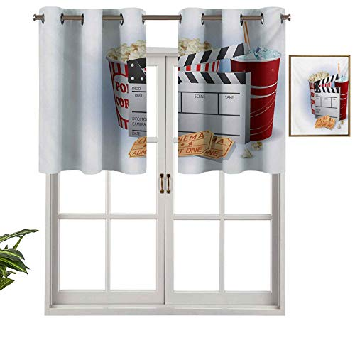 Billetes de soda con cenefa recta, cortos, palomitas de maíz y tabla de clapper, Blockbuster Premiere Cinema, juego de 1, 137 x 45 cm para cocina Windows