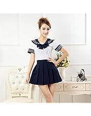 CLJ-LJ Japanse schooluniformen anime COS matrozenpakje tops + band + rok JK marine stijl Studenten kleding for Girl Cheerleader kleding (Color : Navy, Size : S)