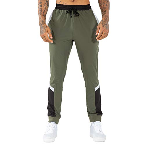 SMILODOX Herren Jogginghose Urbanice Half Zip   Trainingshose für Sport Fitness Gym Training & Freizeit   Sporthose - Jogger Pants - Sweatpants Hosen - Freizeithose Lang, Größe:XL, Farbe:Grün