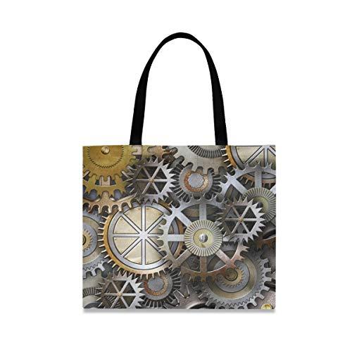 JOYPRINT Canvas Tote Bag Steam Punk Machine Gear School Shoulder Bag Reusable Handbag Grocery Shopping Bag for Women Girls