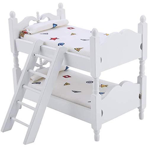 Tabpole 1:12 Casa de muñecas Mini Muebles de los Niños Dormitorio Modelo Litera Cama Juguetes para Niños