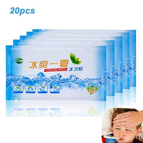 Akemaio 20 Bolsas de enfriamiento Parches Fiebre Dolor de Cabeza Hielo Gel El Golpe de Calor de refrigeración láminas de Gel de Debilidad, Refrescante, aliviar la Fatiga, física