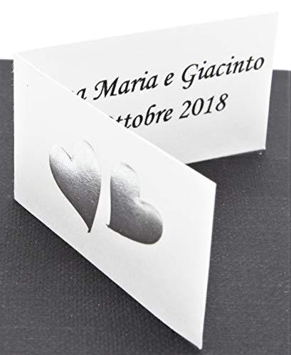 Vinciprova Le Gemme di Venezia 50 Bigliettini Due Cuori Uniti Colore Argento A Rilievo Matrimonio Sposi Stampa Omaggio per Bomboniera