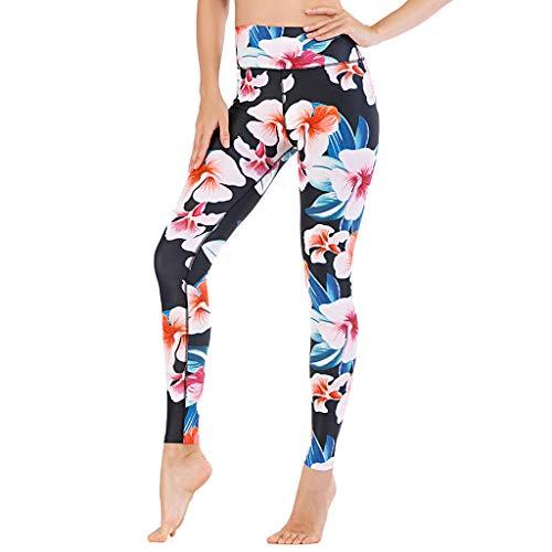 Xniral Yogahosen für Damen Strecken Leggings Gedruckt Slim Fit Sporthose mit Hoher Taille Enge Sport-Freizeit Yogahosen(Mehrfarbig 2,M)