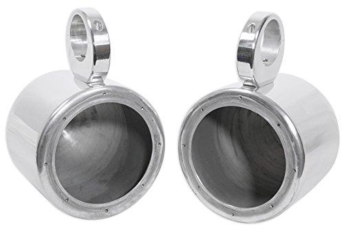 Pair Rockville MAC65S 6.5' Polished Silver Aluminum Wakeboard Tower Speaker Enclosures