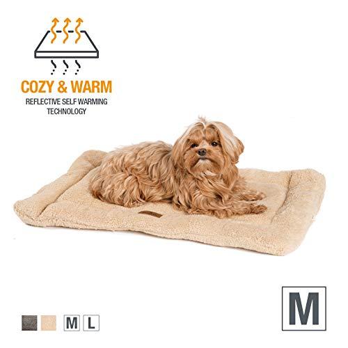 JAMAXX Selbstwärmende Thermo Hunde-Decke, Thermal Wärmematte, Fleece Kissen,Innovative Wärmedecke Hundematte Katzendecke (M) Sand