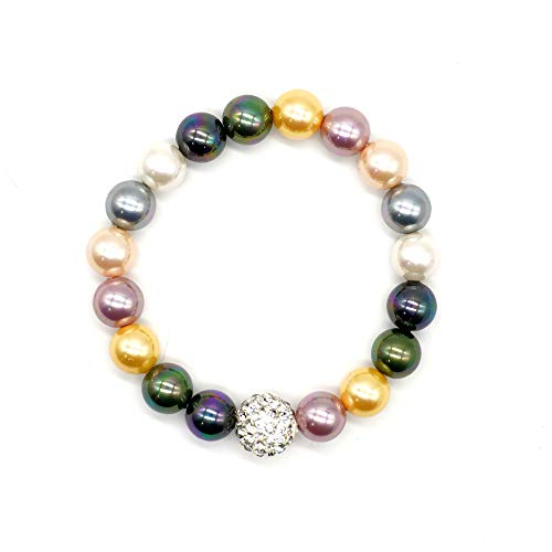 CatstoneNYC Rainbow Color Bead Gemstone (8mm) Stretch Bracelet with Shinny Crystal Ball, Adjustable Bracelet for Women