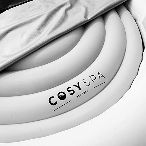 CosySpa Energy Saving Hot Tub Cover – Premium Inflatable Hot Tub Lid | 2 Sizes | Protective Rain Overflow Bladder - Round Heat Insulator Technology (1.6m Diameter (Grey) - 6 Person)