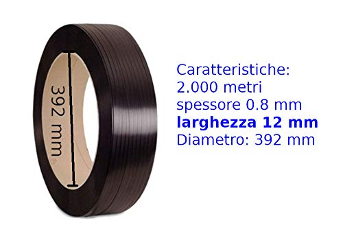 Reggia Reggetta In plastica Polipropilene Nera Ppl 12x0,8 in Rotolo da 2000 mt, diametro interno 392mm